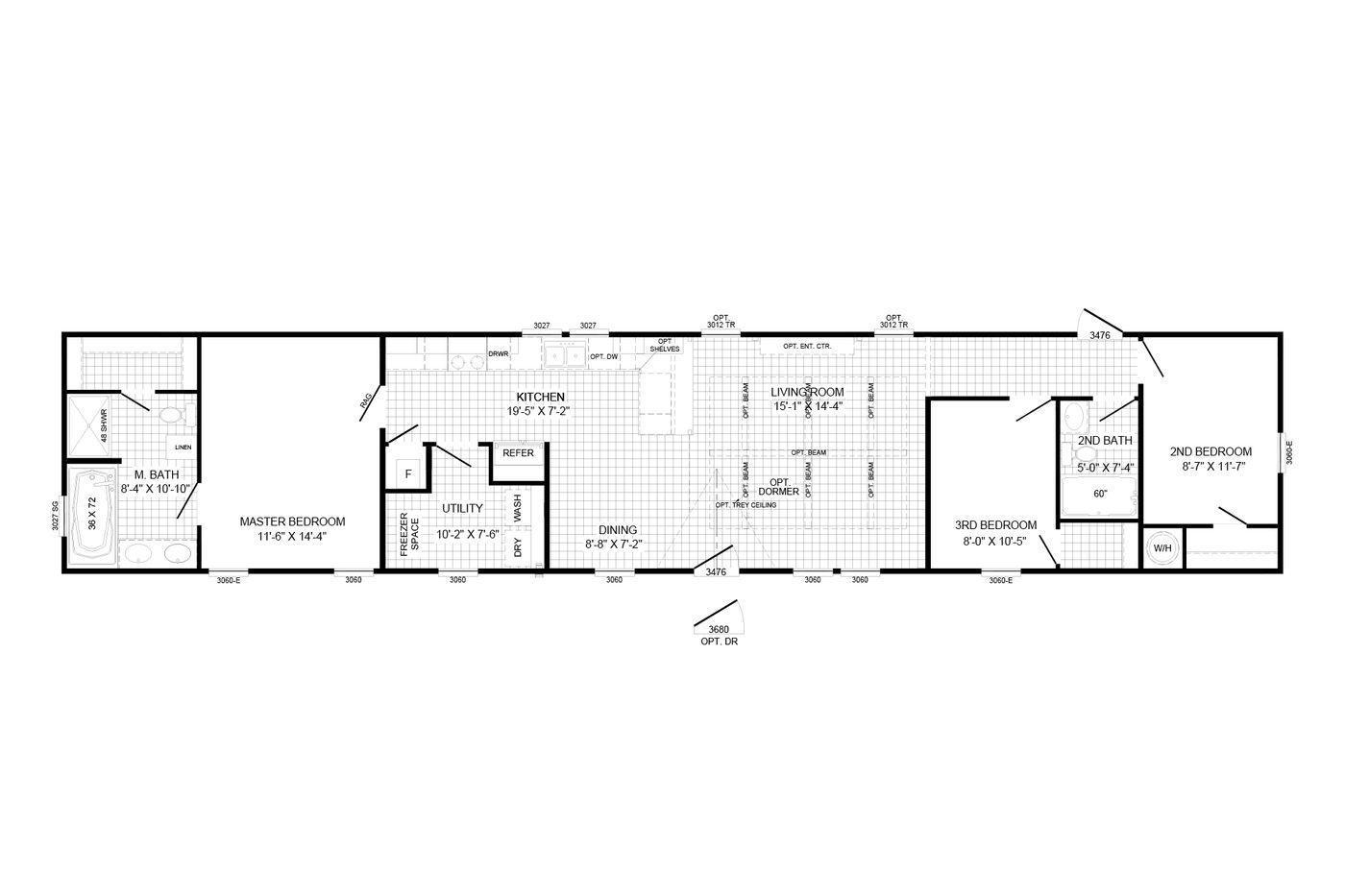 Floorplan of The Eli Mae Manufactured Home From Worldwide Mobile Homes in Lumberton, TX