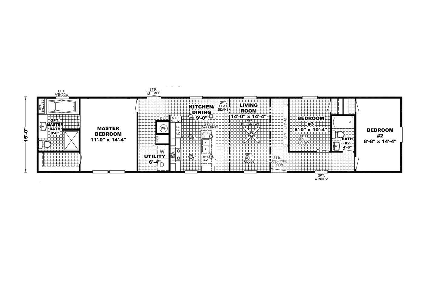 Floor plan in the Edge Manufactured Home from Worldwide Mobile Homes in Lumberton, Texas