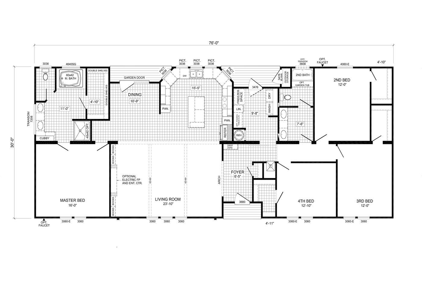 Floor plan of the Whitmore Manufactured Home from Worldwide Mobile Homes in Lumberton, Texas