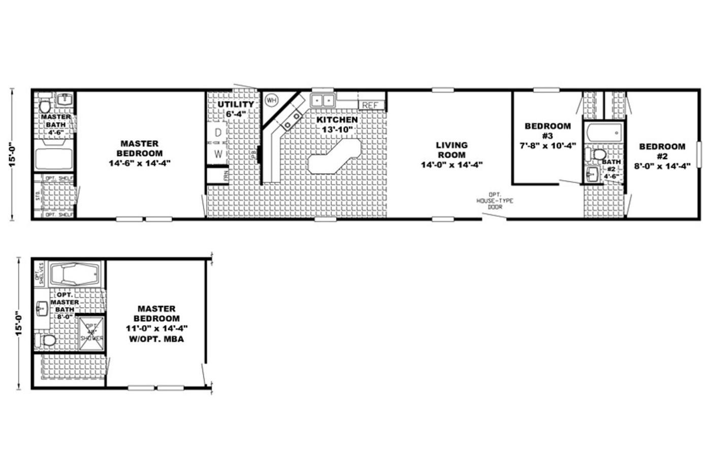 Floorplan of the Z-Bar Manufactured Home From Worldwide Mobile Homes in Lumberton, TX
