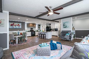The Open Living Space of the Delaware Hamilton Home Builders Manufactured Home from Moody Properties Centreville in Centreville, Alabama
