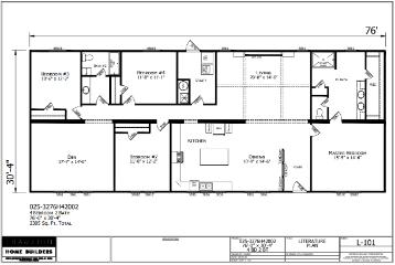 The Spacious Floor Plan of the Magnolia Champion Leesville Manufactured Home from Magnolia Estates in Brookhaven, MS