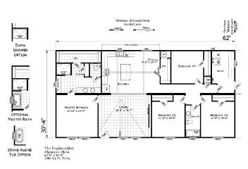 The Open Floor Plan of the Poydras Champion Leesville Manufactured Home from Magnolia Estates in Brookhaven, MS