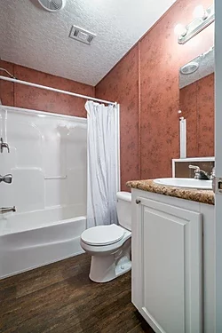 The bathroom of the Scot Bilt Home Run manufactured home from Affordable Homes of Crestview