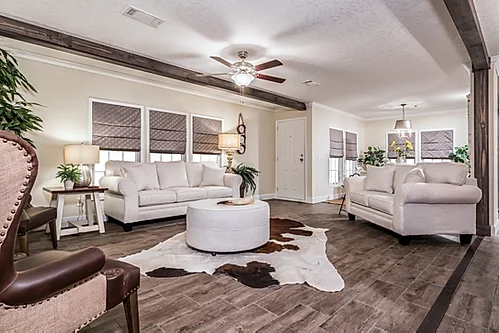 The living room of the Scot Bilt Freedom manufactured home from Affordable Homes of Crestview