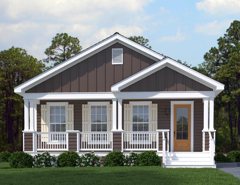 The exterior of the Franklin Homes The Delta ii manufactured home from Affordable Homes of Crestview