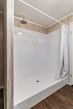 The shower of the Scot Bilt Grand Slam manufactured home from Affordable Homes of Crestview