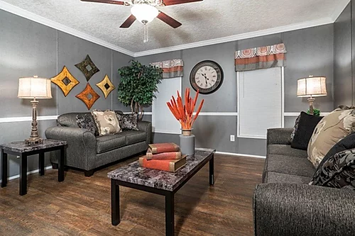 The living room of the Scot Bilt Home Run manufactured home from Affordable Homes of Crestview