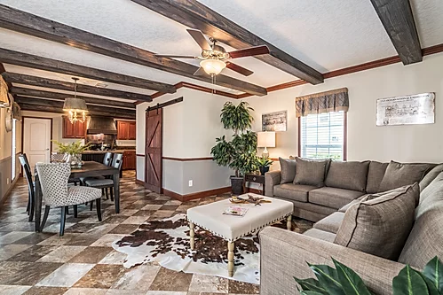 The living room of the Scot Bilt Legend manufactured home from Affordable Homes of Crestview
