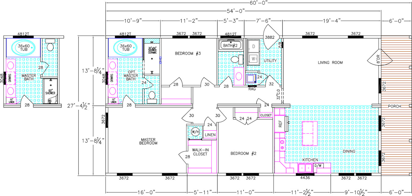 The floor plan of the Franklin Homes The Delta ii manufactured home from Affordable Homes of Crestview