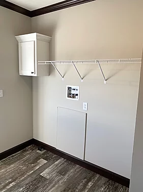 The laundry room of the Scot Bilt Freedom manufactured home from Affordable Homes of Crestview