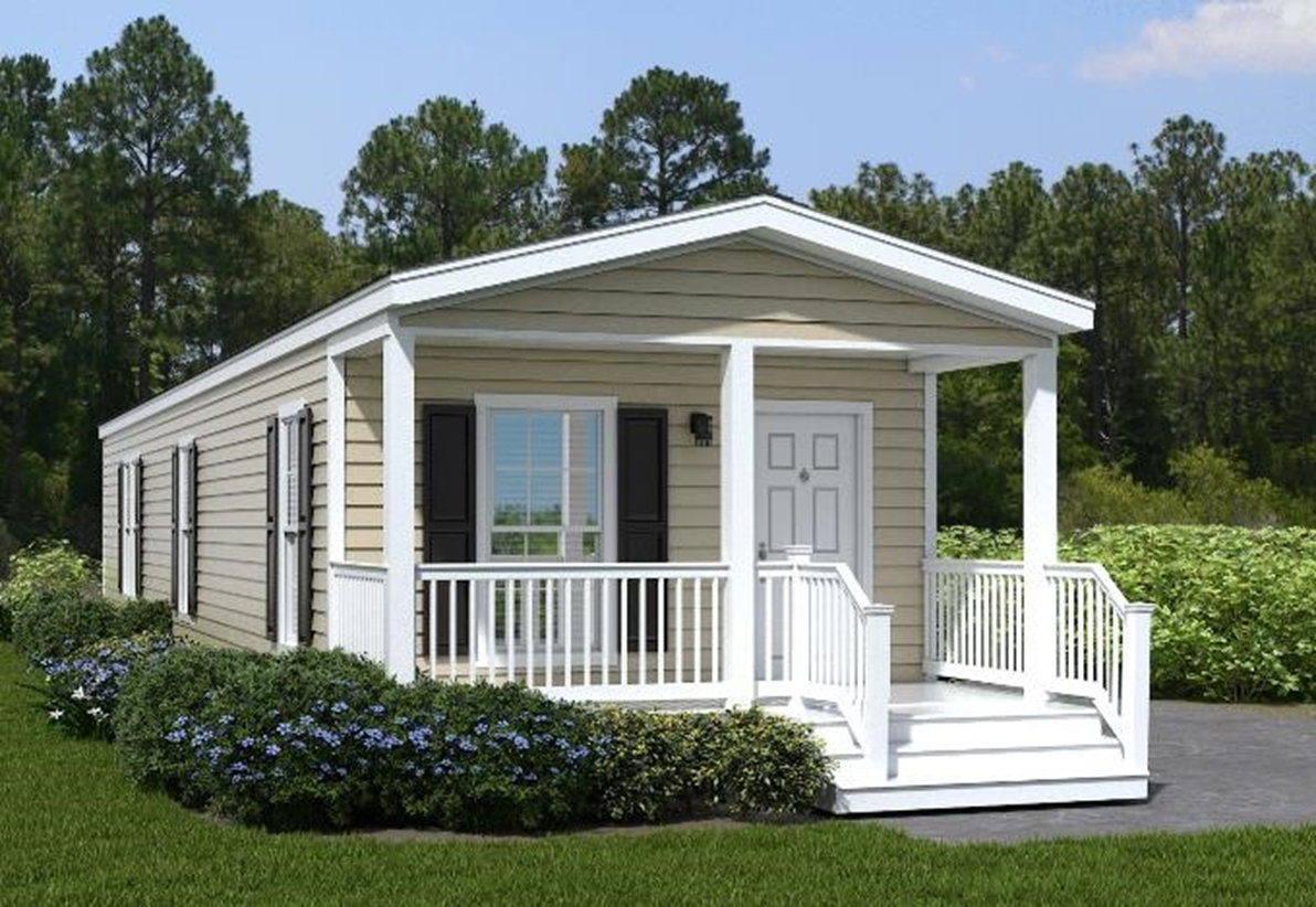 The exterior of the Franklin Homes The Thompson manufactured home from Affordable Homes of Crestview