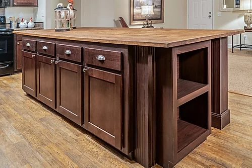 The kitchen island of the Scot Bilt Freedom manufactured home from Affordable Homes of Crestview
