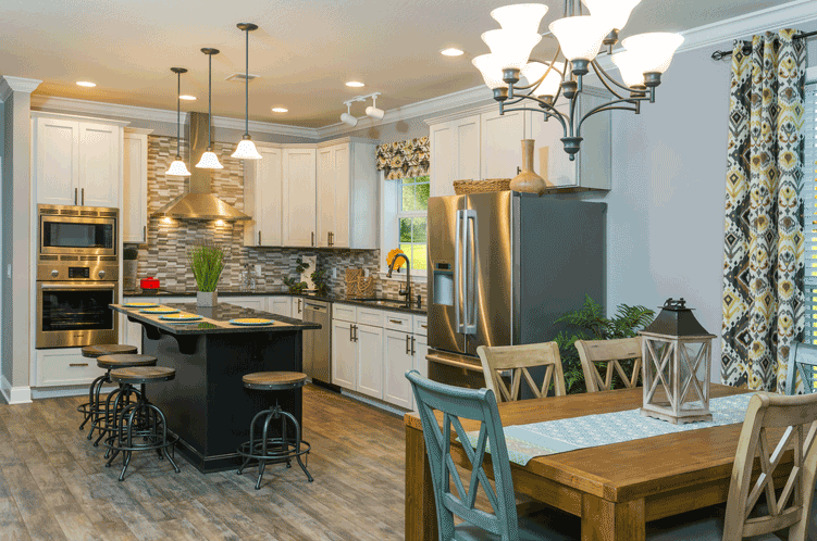 The dining room of the Franklin Homes The Holly manufactured home from Affordable Homes of Crestview