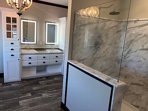 The bathroom of the Scot Bilt Freedom manufactured home from Affordable Homes of Crestview