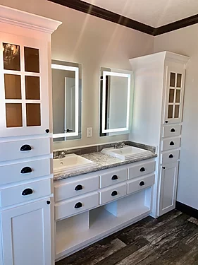 The double vanity of the Scot Bilt Freedom manufactured home from Affordable Homes of Crestview