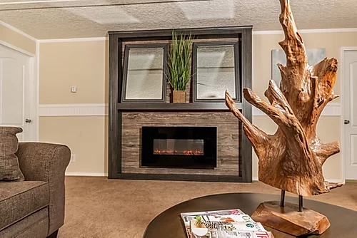 The fire place of the Scot Bilt Grand Slam manufactured home from Affordable Homes of Crestview