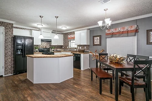 The kitchen of the Scot Bilt Home Run manufactured home from Affordable Homes of Crestview