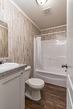 The bathroom of the Scot Bilt Grand Slam manufactured home from Affordable Homes of Crestview