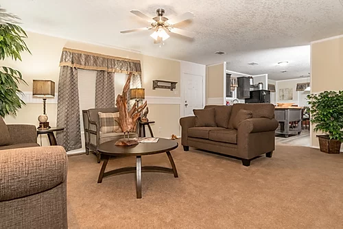 The living room of the Scot Bilt Grand Slam manufactured home from Affordable Homes of Crestview