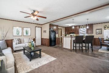 The Open Floor Plan of the Adams a Southern Homes Manufactured Home from Timberline Homes of Tuscaloosa, AL