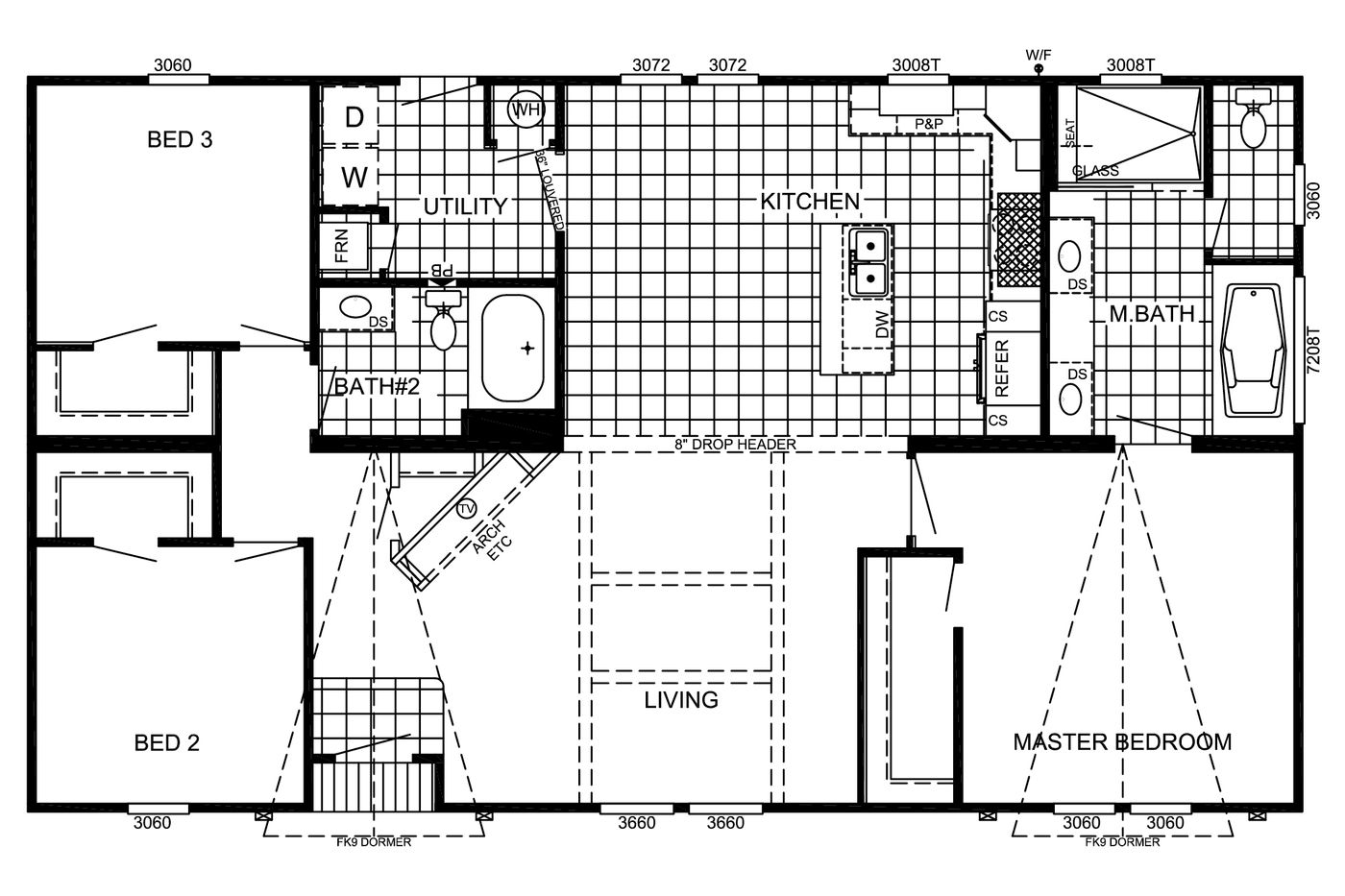 The Floorplan of the Estates Belle Manufactured Home from Timberline Homes of Lafayette, LA