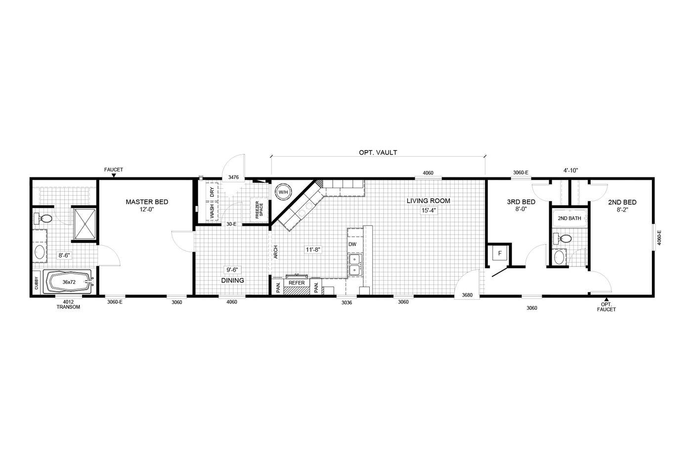 The Floorplan of The Duncan a Cavalier Manufactured Home