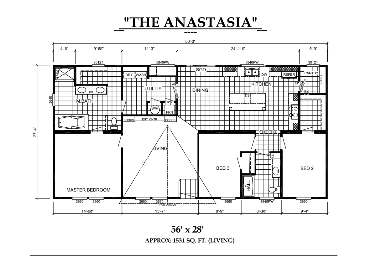 The Floorplan of Estates The Anastasia Manufactured Home from Timberline Homes of Lafayette, LA