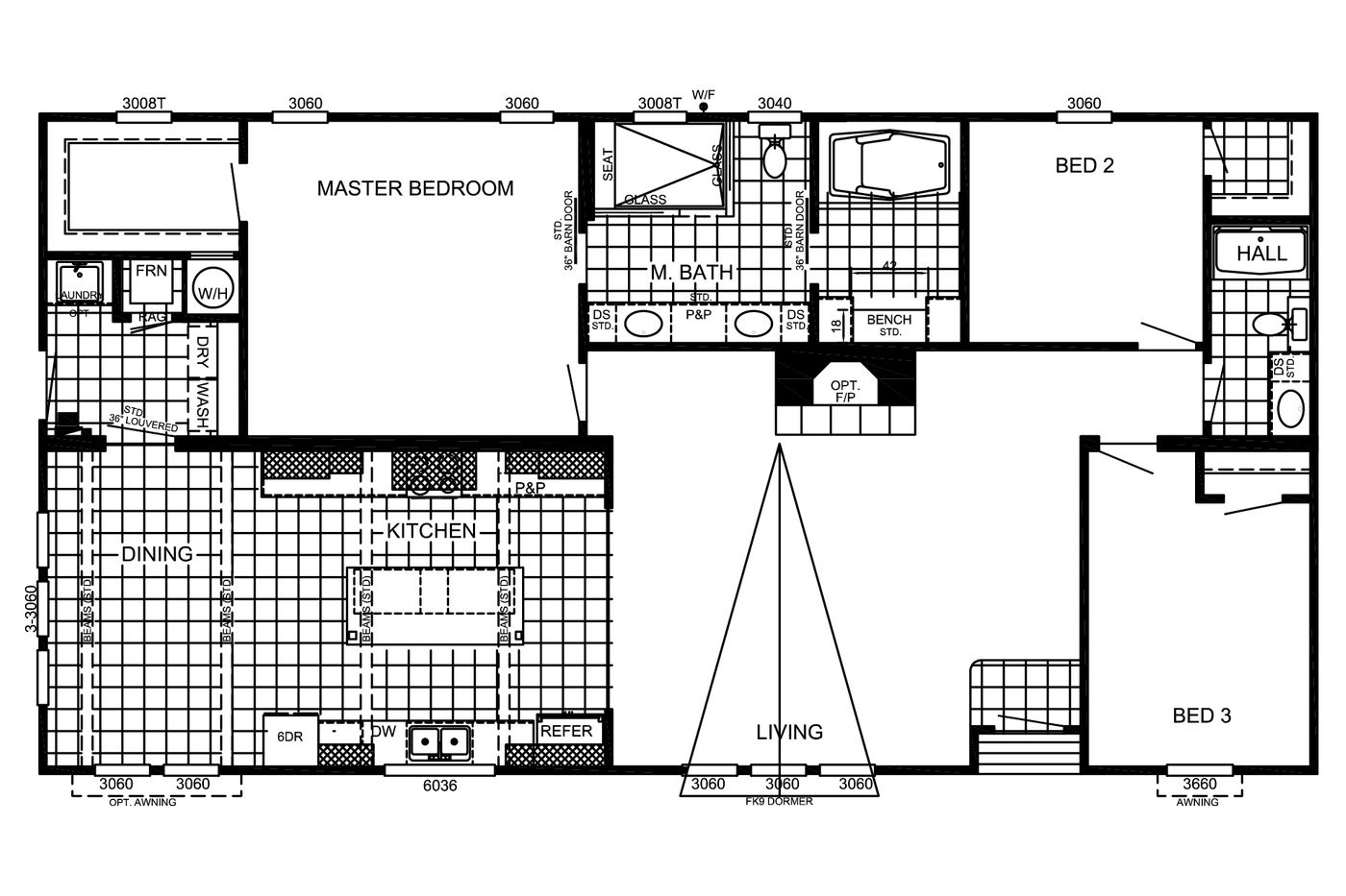 The Floorplan of Estates The Abigail Manufactured Home from Timberline Homes of Lafayette