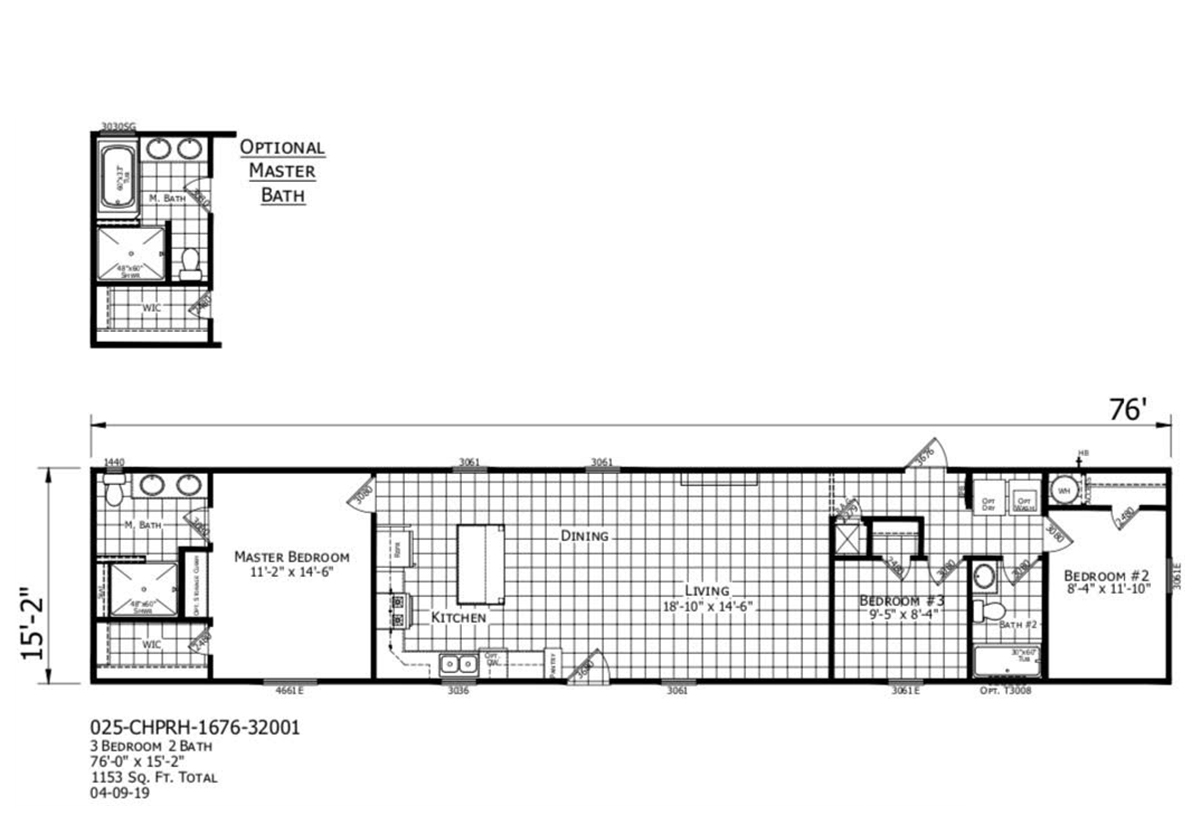 The Floorplan of The Iberville a Champion Manufactured Home from Timberline Homes of Lafayette, LA